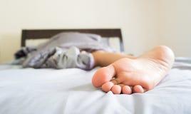 Close-up woman foot. stock photos