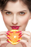 Close up of woman with fruit bodyart Stock Photo