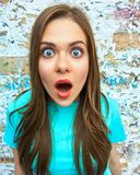 Close up woman funny face Royalty Free Stock Photography