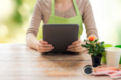 Close up of woman or gardener holding tablet pc. People, gardening, flowers and profession concept - close up of woman or gardener holding tablet pc computer and Stock Photos