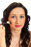 Close up of woman getting make up Stock Images