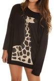 Close up woman giraffe shirt Stock Photos