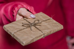 Close up of woman giving package Royalty Free Stock Photography