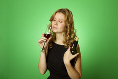 Close-up of woman with glass red wine Royalty Free Stock Image