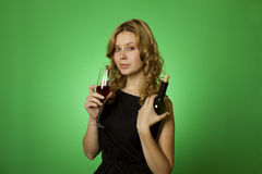 Close-up of woman with glass red wine Stock Images