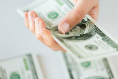 Close up of woman hand counting us dollar money Royalty Free Stock Photography