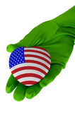 Close up of woman hand holding american flag heart shape Stock Photo
