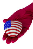Close up of woman hand holding american flag heart shape Royalty Free Stock Photography
