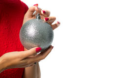 Close up of woman hand holding christmas ball Stock Image