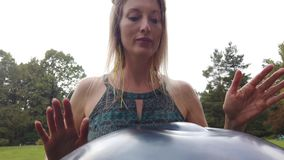 Close-Up Of woman Hand Playing On Modern Musical Instrument Hand Pan. Or Vadj stock video footage