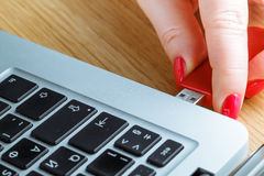 Close up of a woman hand plugging a pendrive on a laptop Royalty Free Stock Photo
