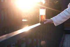 Close up woman hand on sunset with cup of tea, copyspace Royalty Free Stock Image