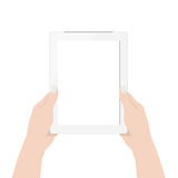 Close up woman hand using digital tablet technology blank screen display on white. Background Stock Photos
