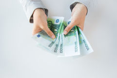 Close up of woman hands counting euro money Royalty Free Stock Image