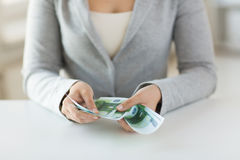 Close up of woman hands counting euro money Stock Images