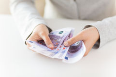 Close up of woman hands counting euro money Royalty Free Stock Photography