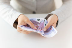 Close up of woman hands counting euro money Stock Image