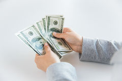 Close up of woman hands counting us dollar money Stock Photos
