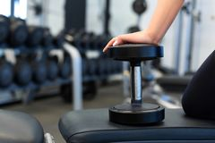 Close up woman hands with dumbbells on bench in gym royalty free stock photo