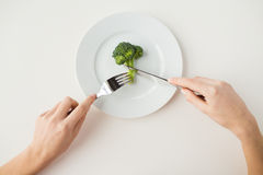 Close up of woman hands eating broccoli Stock Images