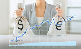 Close up of woman hands holding money bags Royalty Free Stock Image