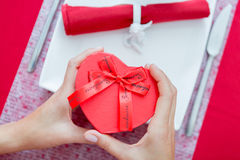 Close up of woman hands holding present box Stock Photography