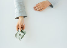 Close up of woman hands holding us dollar money Royalty Free Stock Image