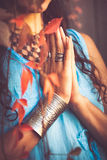 Close up of woman hands in namaste gesture Royalty Free Stock Photography