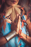 Close up of woman hands practice yoga Royalty Free Stock Photography