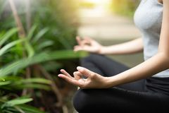Close up woman hands practicing yoga and meditation. Close up woman hands practicing yoga and meditation in the lotus position at the forest stock photos