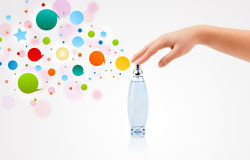 Close up of woman hands spraying Royalty Free Stock Image