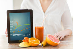 Close up of woman hands with tablet pc and fruits Royalty Free Stock Image