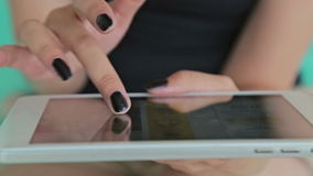Close-up woman hands using digital tablet computer. stock footage