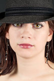 Close-up of woman with hat Royalty Free Stock Images