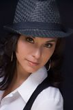 Model with trilby royalty free stock image
