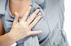 Close up woman having chest pain  heart attack Royalty Free Stock Photography
