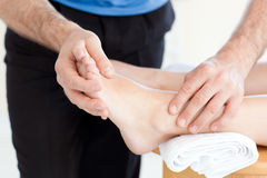 Close-up of a woman having a foot massage Royalty Free Stock Photo