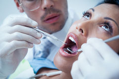 Close up of woman having her teeth examined Royalty Free Stock Photo