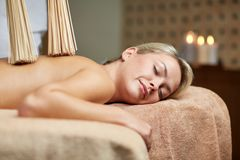 Close up of woman having samurai massage in spa Stock Image