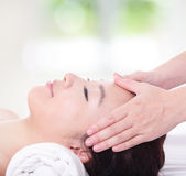 Close up of woman in head massage, spa Stock Photos