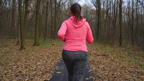 Close up of woman with headphones and smartphone chooses the music and running through an autumn forest at sunset. Slow stock video