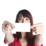 Close up Woman Holding Blank White Greeting Card Royalty Free Stock Photography