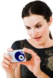 Close-up of a woman holding camera Royalty Free Stock Photography