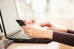 Close-up of woman holding credit card Stock Image