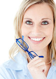 Close-up of a woman holding glasses Royalty Free Stock Photography