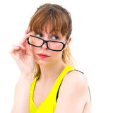 Woman holding glasses Stock Photos