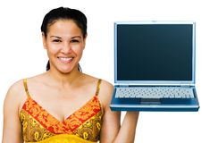 Close-up of a woman holding laptop Royalty Free Stock Image