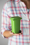 Close Up Of Woman Holding Model Recycling Bin Stock Image