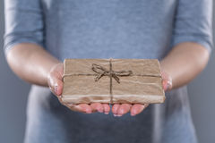 Close up of woman holding package Stock Images
