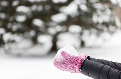 Close up of woman holding snow outdoors. Winter holidays, christmas and people concept - close up of woman holding snow outdoors Royalty Free Stock Photography